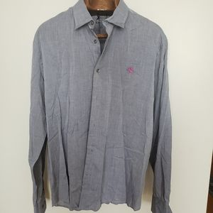 ❤ (3/$20) Express Men // pink purple logo shirt